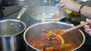 Steaming chilli con carne at the Central Street Cookery School