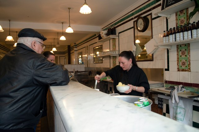 This Manze regular has been coming to the pie shop ever since he can remember and orders his usual double pie, mash and liquor