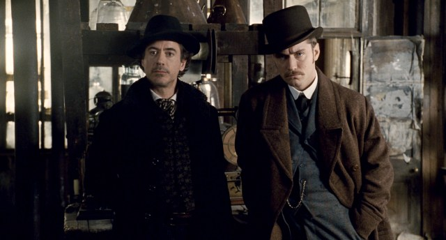 Robert Downey Jr. as Holmes and Jude Law as his assistant Watson in the Sherlock Holmes film franchise