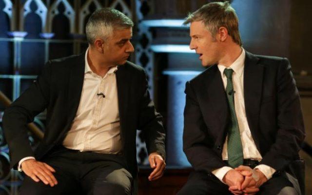 Khan and Goldsmith debating, Photo credit Daniel Leal-Olivas PA