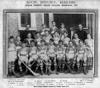 1937 Dublin Primary Junior Hurling Champions. Included in the photograph is a young Harry Boland and a Charles Haughey.