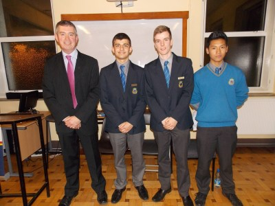 Mr Cullen and the three speakers who addressed the parents