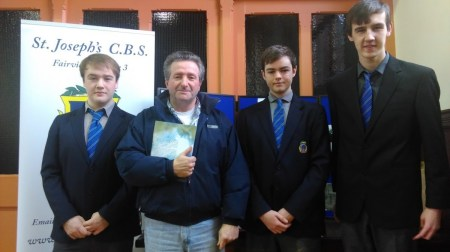 Pupils with Mr. Seán O'Connell, P.P.U. President at 1916 Commemoration in St. Anthony's Church, Clontarf. 16/1/2106