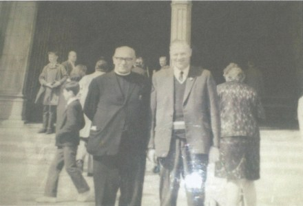 Mr. Martin Mulcahy and Br. Murphy. Seventy-five pupils went on a pilgrimage to Lourdes accompanied by five Brothers and a lay teacher. Photograph provided by Ms. Carmel Mulcahy.
