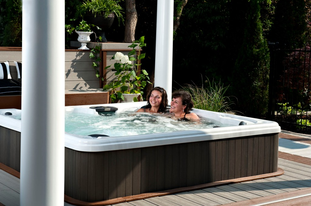 two women in a hot tub