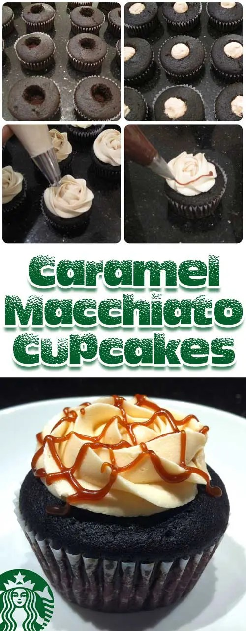 My absolute favorite drink from Starbucks turned into a cupcake! ThisCaramel Macchiato Cupcakes is a dream come true. #cupcakerecipe #dessertrecipe