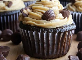 These Peanut Butter Cup Cupcakes are the ultimate dessert! Moist chocolate cupcakes with peanut butter frosting and peanut butter cups. Chocolate and peanut butter fans rejoice!