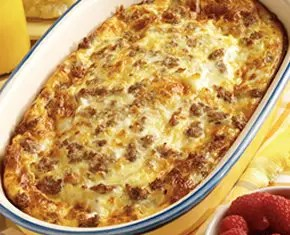 This easy breakfast is a great way to start the day. Sausage, eggs and cheese are layered over a crescent roll base for a delicious and filling meal.