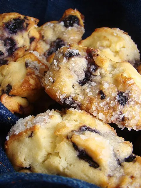 These tender, moist blueberry scones are studded with juicy blueberry goodness. They are wonderful hot, split in half and slathered with butter.