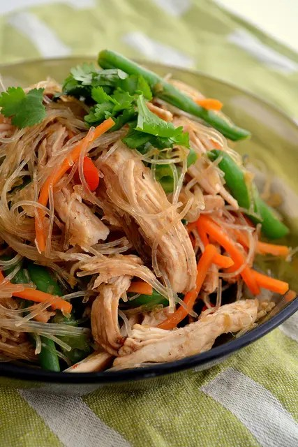 Filipino Fried Noodles With Chicken and Beans