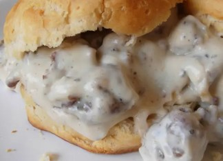 Recipe for Biscuits and Gravy - Very few breakfast dishes trump biscuits and gravy. Fluffy homemade biscuits are topped with creamy white gravy studded with country ham. The only thing that can make biscuits and gravy even better is a fried egg.