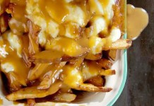 Recipe for Poutine - French Fries with Gravy and Cheese Curds - An unabashedly savory collage of french-fried potatoes, beef gravy, and squeaky-fresh cheese curds, poutine is perhaps the ultimate late-night snack.