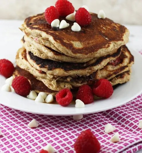 Raspberry and White Chocolate Whole-Wheat Pancakes