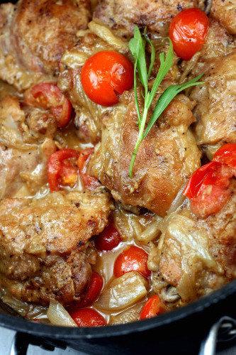 Braised Garlic Honey Mustard Chicken Thighs with Shallots