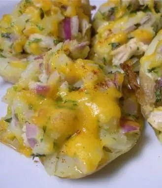 Chicken and Cheddar Stuffed Potatoes