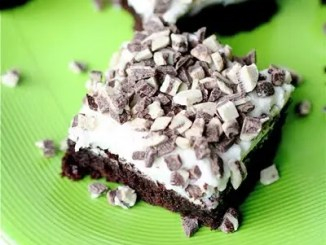 Recipe for Chocolate Mint Brownies - They're thick, fudge-y and exactly what a brownies should be. And then you top them with mint frosting—AMAZING.