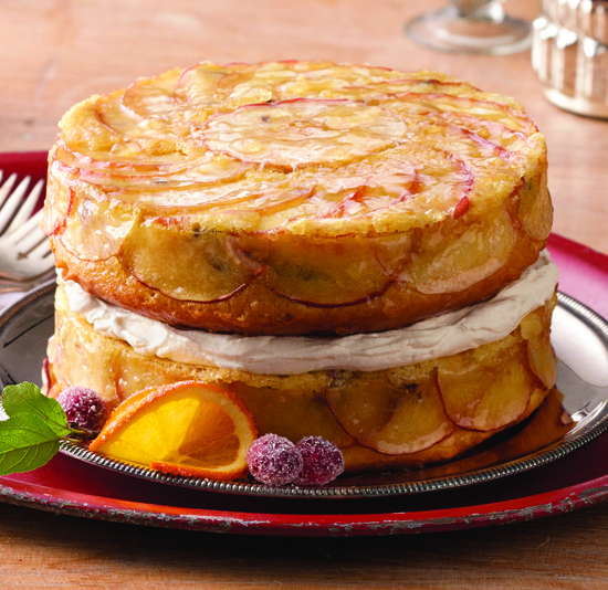 Upside-Down Apple Cake with Whiskey-Soaked Fruit