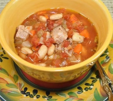 This Slow Cooker Tuscan Pork and Bean Soup is a slow cooker recipe that warms your insides on a cold winter's day