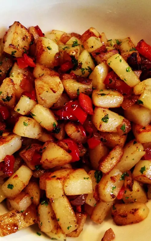 These Country Breakfast Potatoeshappen to be one of my favs!!! They are satisfying all on their own but can be kicked up by melting cheese over top or mixing in with eggs to make an over the top awesome omelet or breakfast sandwich.