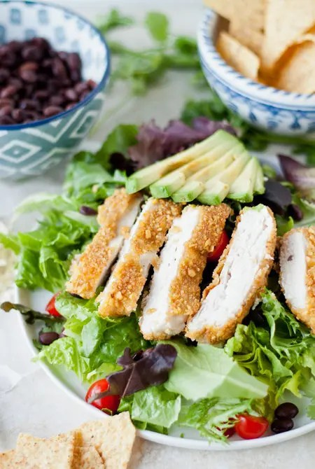 Recipe for Tortilla-Crusted Chicken Salad with Cilantro Dressing