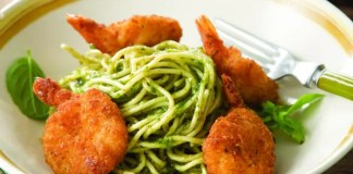 Recipe for Parmesan Shrimp and Pesto Noodles