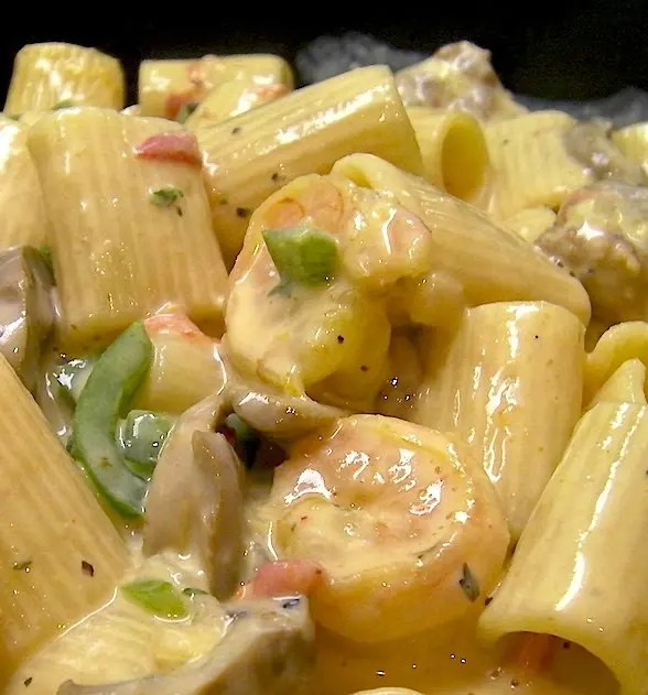 Shrimp and Andouille? Hmmm. Screams Creamy Cajun Rigatoni with Shrimp and Andouille to me! How about you? Oh, and if you like it super spicy, top with a dash of cayenne. Yummo!