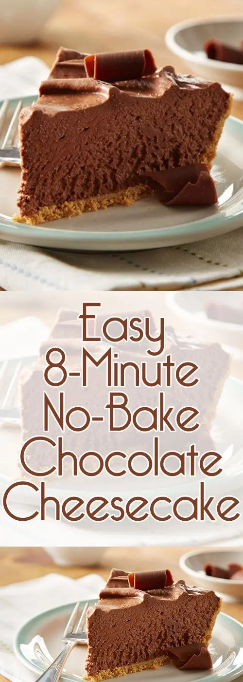 Delicious easy no-bake chocolate cheesecake that takes only 8 minutes to be ready. If you're a fan of dessert recipes or chocolate, this one is for you. #chocolatecheesecake #nobakedessert #cheesecakerecipe