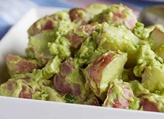 Create a new picnic and party tradition with this delicious Creamy Vegan Avocado Potato Salad made with red potatoes and Fresh Avocados. With only six ingredients it is surprisingly simple to make and tastes good.