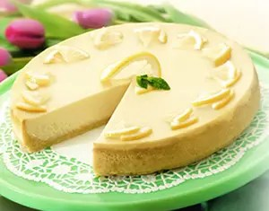 Recipe for White Chocolate Lemony Cheesecake - Although it takes some time to prepare this eye-catching cheesecake, the combination of tangy lemon and rich white chocolate is hard to beat.