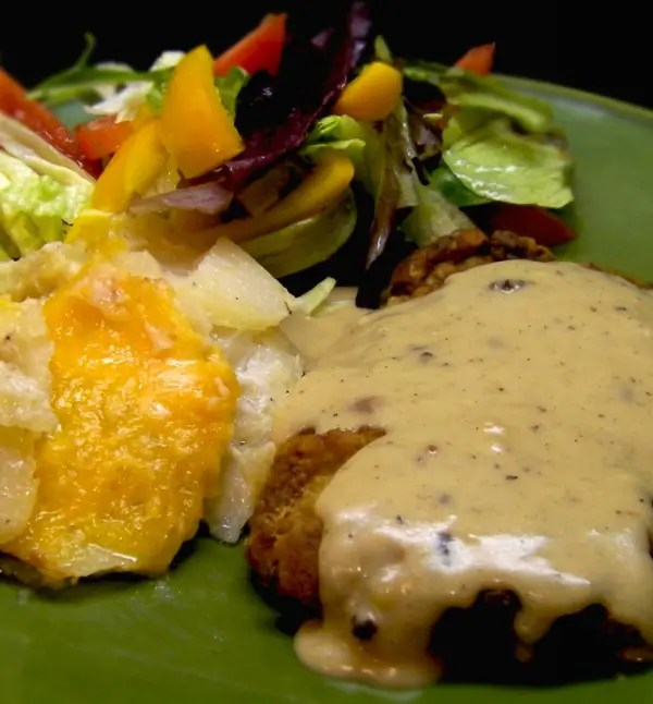 Chicken Fried Steak with Cheddar Scalloped Potatoes