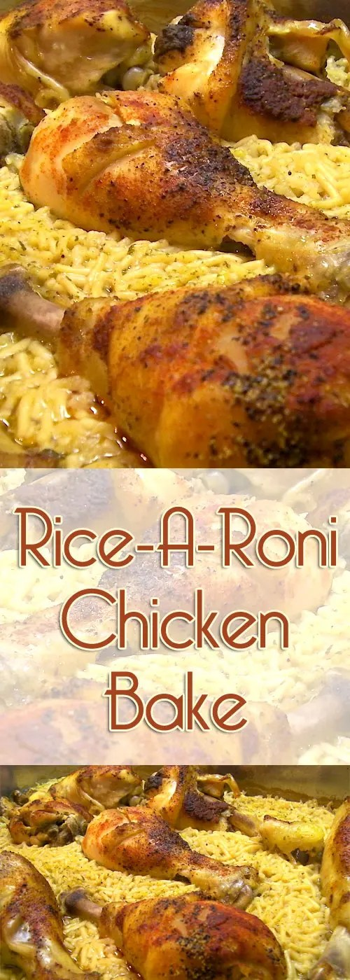 This Rice-A-Roni Chicken bake basically cooks itself. Start the dish before you leave, and by the time you get home, it's done, and ready to serve! #chicken #rice #dinnerideas #easyrecipe