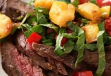 Recipe for Grilled Flank Steak with Peppery Peach Salsa