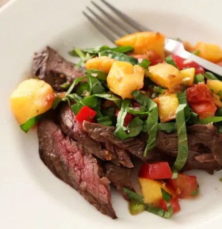 Grilled Flank Steak with Peppery Peach Salsa