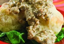 A classic Southern recipe for breakfast or brunch, these Old Fashion Buttermilk Biscuits With Sausage and Black Pepper Gravy are rich, hearty, and most importantly, DELICIOUS!
