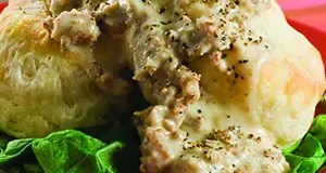 Recipe for Old Fashion Buttermilk Biscuits With Sausage and Black Pepper Gravy