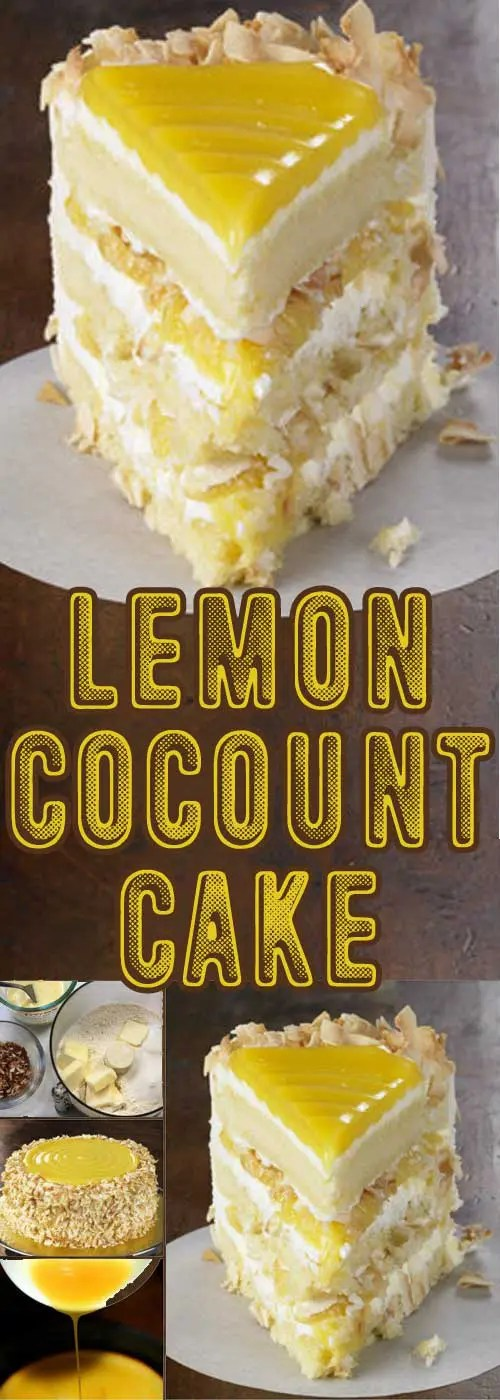 Tangy lemon filling between layers of tender white cake. Top it all off with a rich coconut-cream cheese frosting. This is the best Lemon Coconut Cake I've ever eaten.#lemon #cake #springdessert #dessert