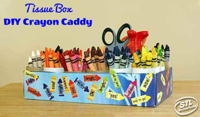 crayon caddy from tissue box