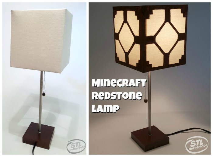 Real minecraft redstone lamp for your kid 39 s room for Minecraft shade template