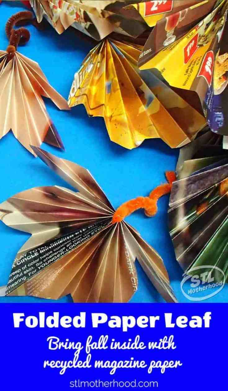 Make fall leaves from recycled magazine paper