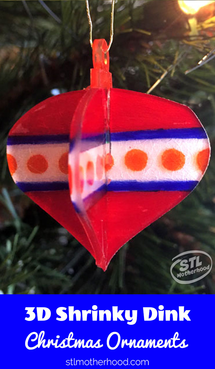 Quick and easy shrinky dink ornament that's 3D