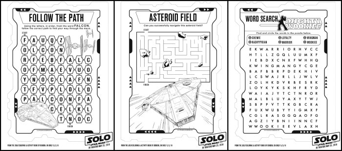 Han Solo movie activity pages for  Star Wars Fan!