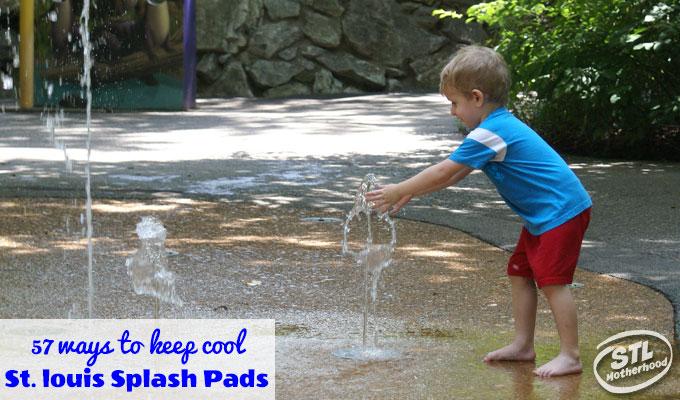 kid at splash fountain