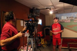 corporate video production camera operator and spokesperson Lance Berkman