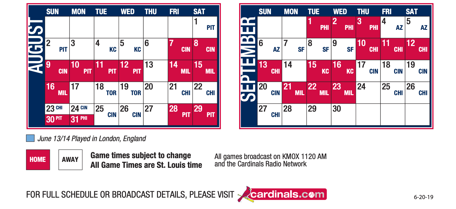 Cardinals Schedule June 2020 Cardinals Announce 2020 Regular Season Schedule   STLSportsPage.com