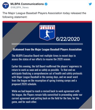 MLBPA statement June 22