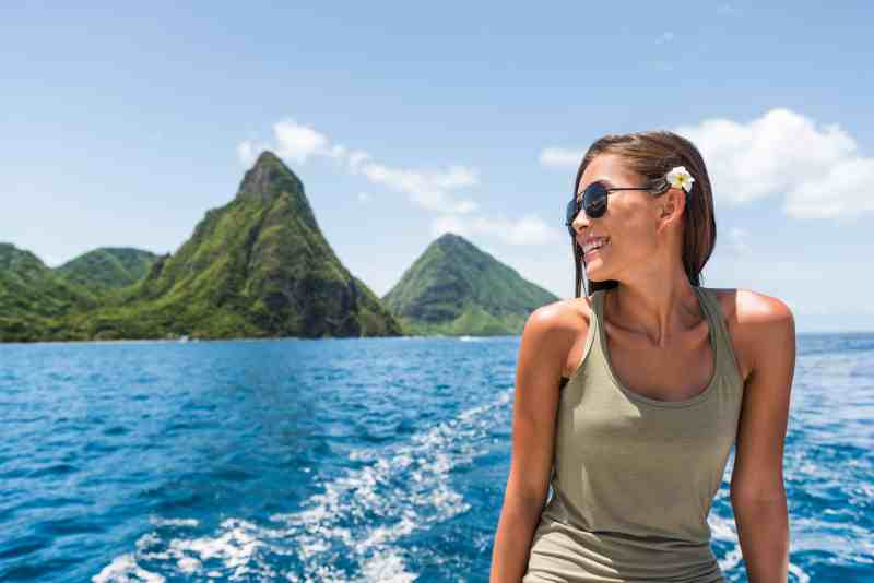 Woman on boat near St Lucia Pitons