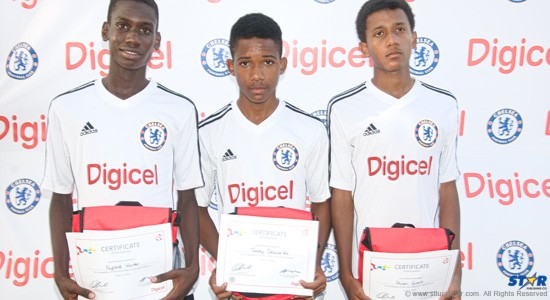 Digicel's Kick Start winners: Nyrone Winter (l), Tommy Descartes (c) and Evian Girard.
