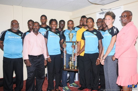 Athletes, coaches and officials at the welcome home reception for the OECS Championship team at the VIP Lounge at the George FL Charles Airport.