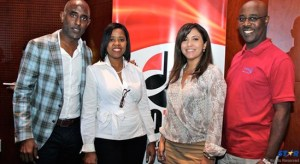 Making a pitch for the compliance by broadcasters and users of music to pay relevant licenses. L-R: CEO of the Copyright Organization of Trinidad and Tobago (COTT) Josh Rudder, JACAP General Manager Lydia Rose, ASCAP's Elizabeth Rodda and ECCO General Manager Steve Etienne.