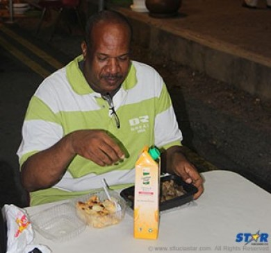 Jerry George enjoys dinner on the strip.
